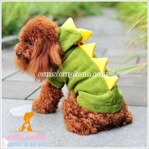 Ai bảo trang phục giữ ấm thì không xinh nào? Bạn có thể đến với Junie House để rước về trang phục khủng long đáng yêu này cho bé cún nhà mình nhé!
