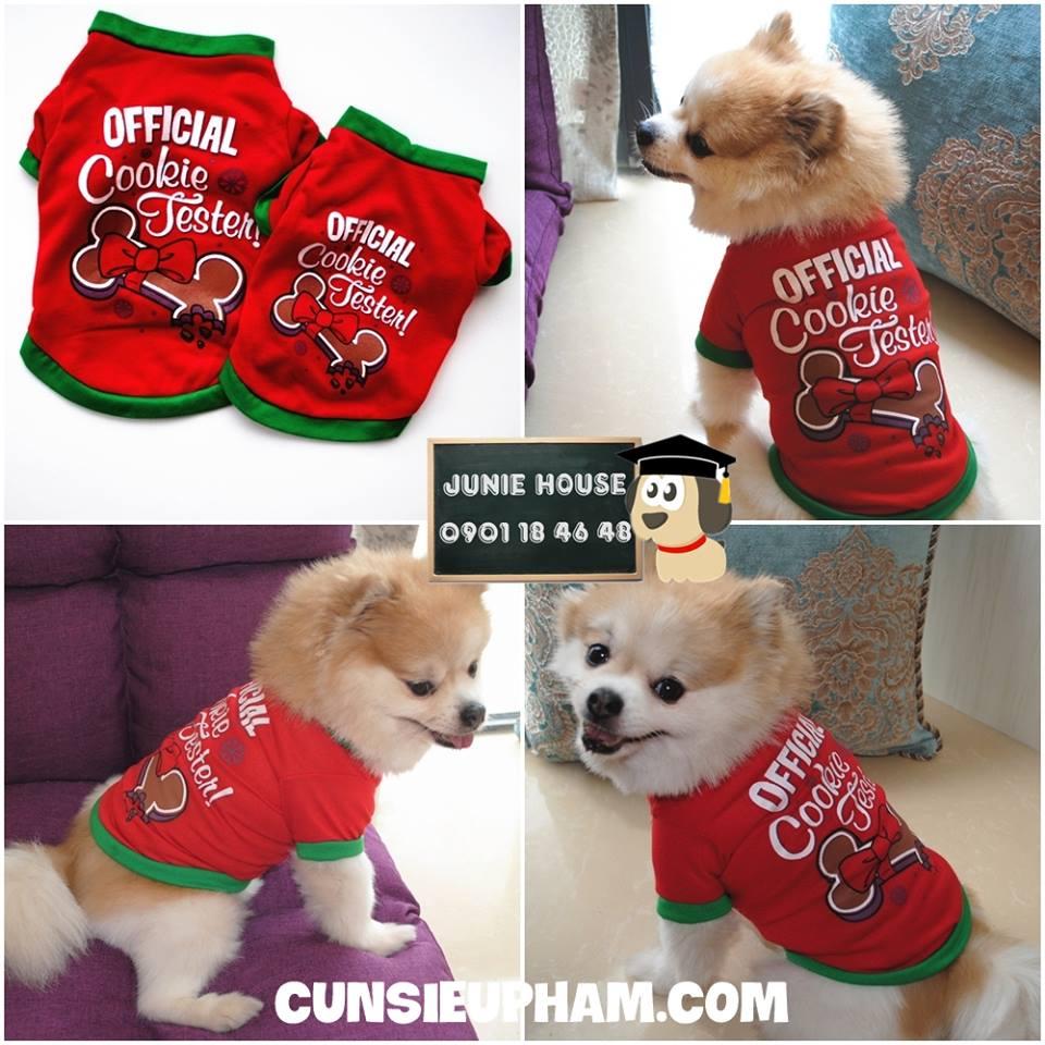 Junie House chuyên cung cấp quần áo cho chó, quần áo chó mèo, Áo thun Noel Cookie Fester dành cho boss nhỏ ... Hotline 0901 18 46 48