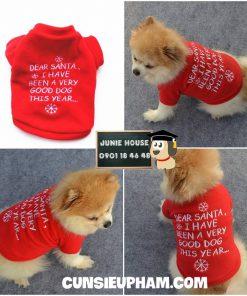 Junie House chuyên cung cấp quần áo cho chó, quần áo chó mèo, áo thun noel dear santa dành cho boss... Hotline 0901 18 46 48